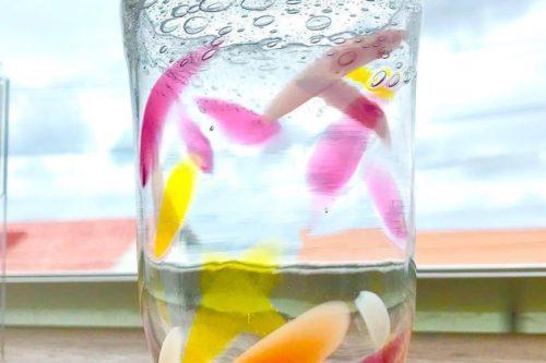 暖かい色合いのグラス体験にて