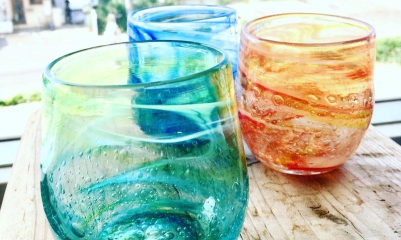 吹きガラス体験、たるグラスたち。